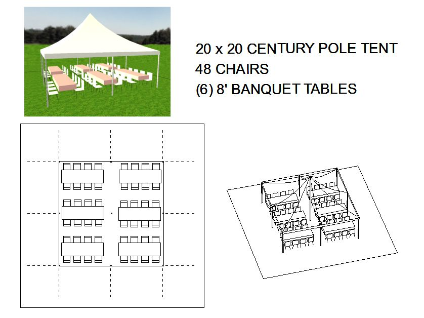 20x20 pole tent seats 48 michiana tool and party rental. Black Bedroom Furniture Sets. Home Design Ideas