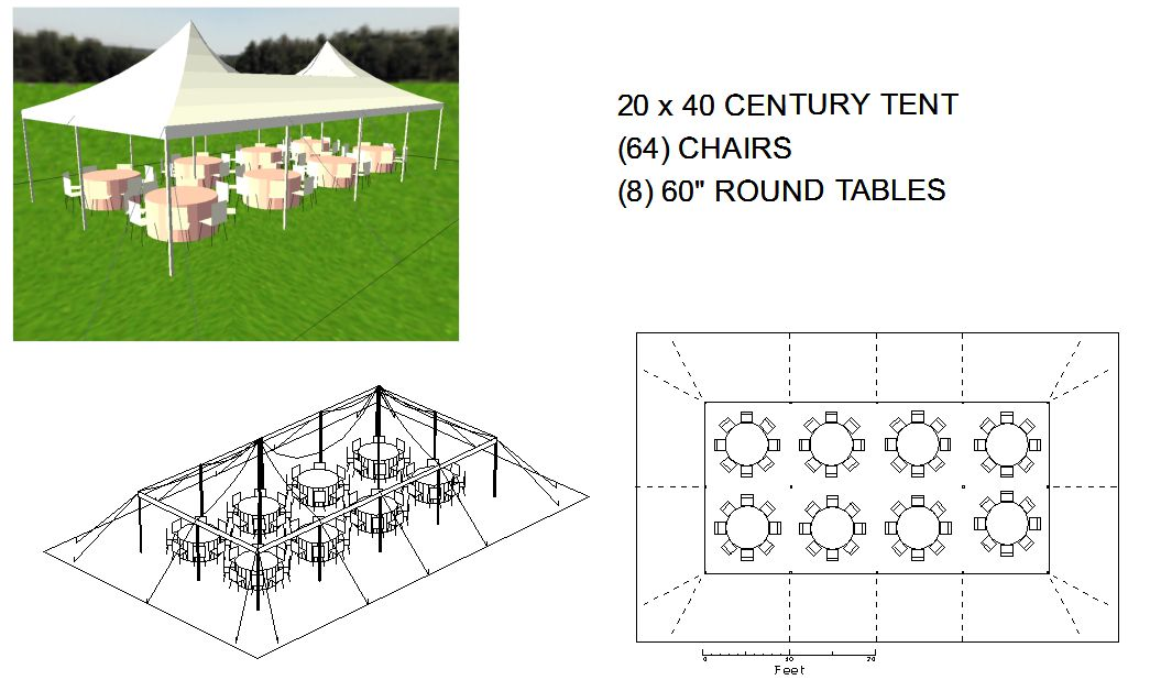 20x40 white century pole tent for Wedding tent layout tool