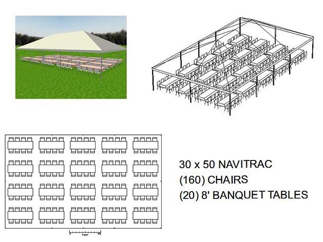 30X50 NAVITRAC FRAME TENT WHITE TOP