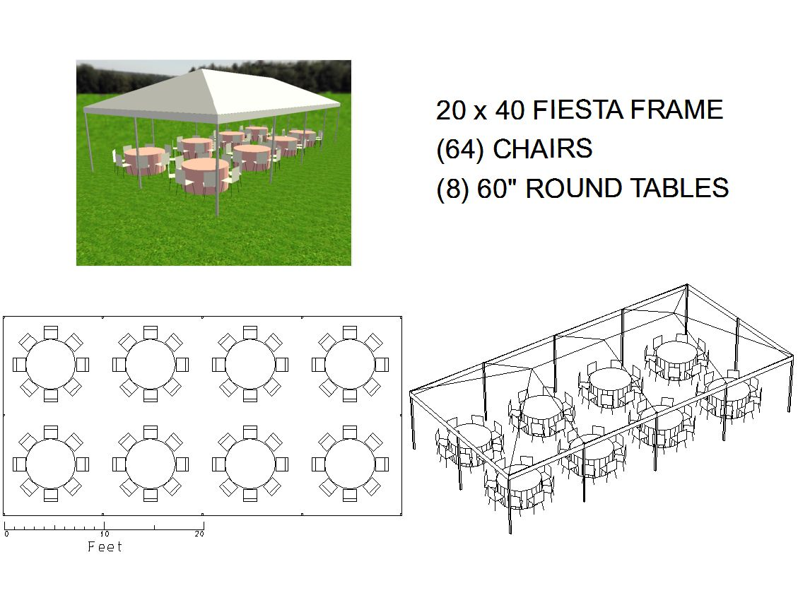 20x40 frame tent seats 64 michiana tool and party rental. Black Bedroom Furniture Sets. Home Design Ideas