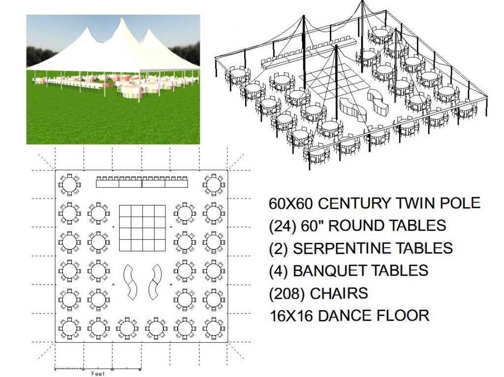 60x60 white wedding pole tent seats 208 michiana tool for Wedding tent layout tool