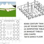 60X60 WHITE WEDDING POLE TENT SEATS 208