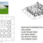 40X40 WHITE WEDDING POLE TENT SEATS 104